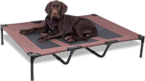 Internet's Best Dog Cot - 48 x 36 - Elevated Dog Bed - Cool Breathable Mesh - Indoor or Outdoor Use - Large - Brown