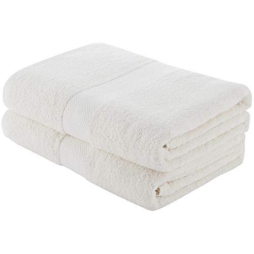 Charles Wilson Juego de Toallas 100% Algodón 500g/m² (2 Toallas de baño, Blanco (0120))
