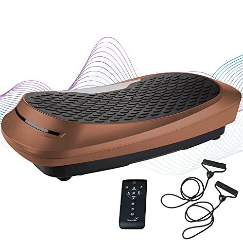 skandika 4D Vibrationsplatte V2500 | 4D Vibration, Curved Design, Oszillierende Frequenz, sehr leise, 30 Stufen, 3 Trainingsprogramme, bis 32 Hz, Trainingsbänder, Fernbedienung | Ganzkörpertraining