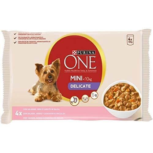 Nestlé Purina One Delicate Comida húmeda para Perro delicados de estomago Rico en Salmón 4 x 100 g - Pack de 10 ✅