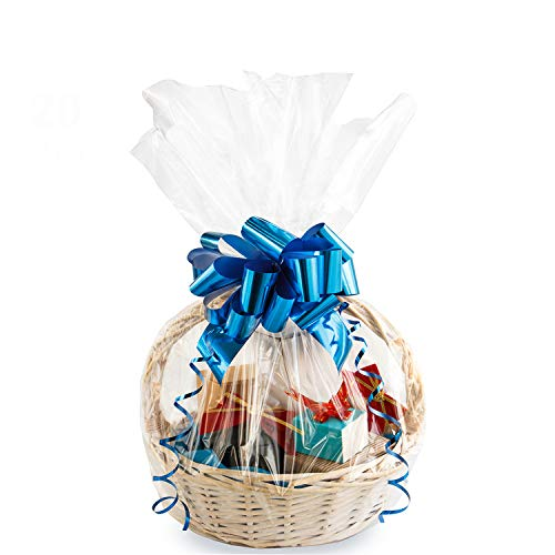 Large Cello/Cellophane Bags,30x 40 Inches Easter Clear Basket Bags OPP Plastic Cellophane Wrap for Gift Baskets Packaging 10Pack
