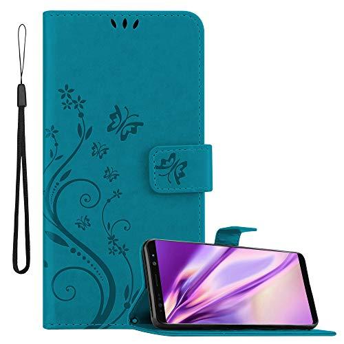 Cadorabo Hülle für Samsung Galaxy Note 8 in FLORAL BLAU Handyhülle im Blumen Design mit Magnetverschluss, Standfunktion & 3 Kartenfächern Hülle Cover Schutzhülle Etui Tasche