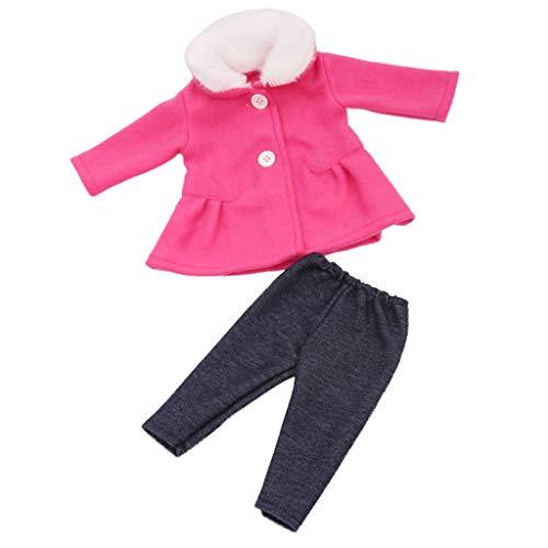 Sharplace Conjunto de Abrigo de Lana Hecho a Mano para Muñecas de 18 Pulgadas + Accesorios de Pantalón - Rosa roja, Tal como se Describe