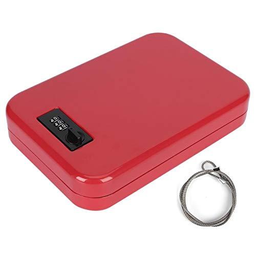 Pinsofy Caja de Seguridad, Caja de Seguridad, Organizador Seguro Caja de Almacenamiento sin Llave Portátil antirrobo para Escritorio en casa mostrador de Oficina(Red)