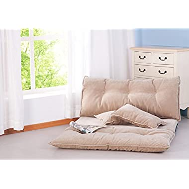 """Merax Adjustable Foldable Modern Leisure Sofa Bed Video Gaming Sofa with Two Pillows (Beige), Size: 87"""" L X 43"""" W"""