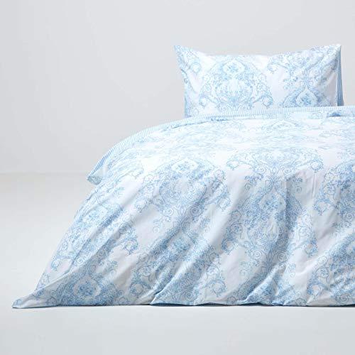 Homescapes blaues Bettwäsche-Set im Toile-de-Jouy Design, Baumwollmischung, Bettbezug 135 x 200 cm & Kissenbezug 48 x 74 cm mit Blumenmuster & Streifen, praktische Wendebettwäsche in Hellblau