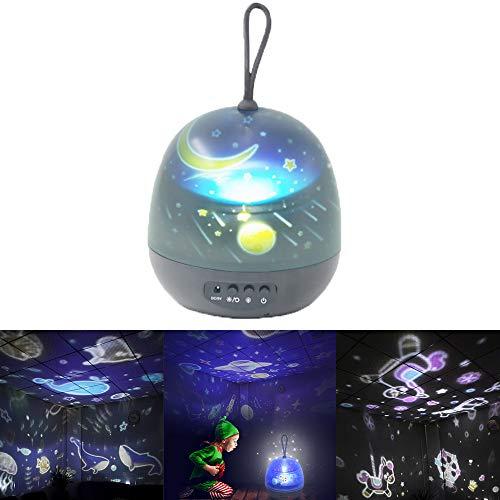 OurLeeme Lámpara de noche LED, luz de proyector de estrella giratoria de 360 grados 8 modos de luz 4 Película de proyección para niños Niños Niños Decoración de regalos de cumpleaños (Negro)