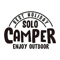 ソロキャンプで最高の休日 ステッカー (白, 18)