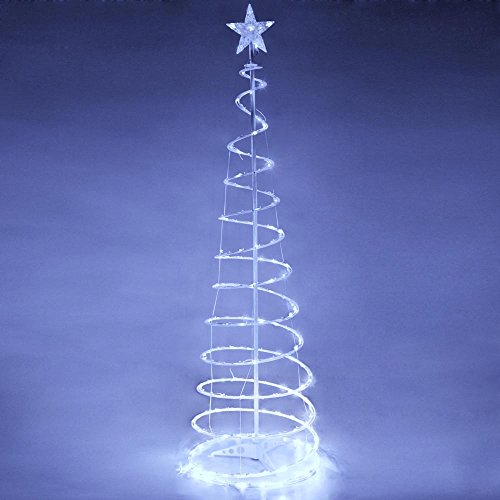 Fxionicon 6FT LED Christmas Tree Light Indoor Outdoor Christmas Decorations Spiral Holiday Lamp,White