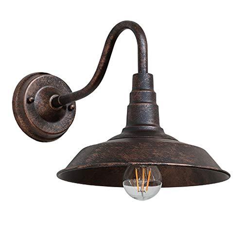 Industrial Lámpara de Pared Retro Vintage Aplique, Forma de Sombrero Iluminación de Pared, Iluminación para Bar Club Loft Pasillo Restaurante Comedor (Óxido)