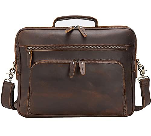 Makeupart Valigetta per Laptop in Pelle da 15,6 Pollici Borsa da Viaggio Multiuso Fatta a Mano da Viaggio Custodia per Tablet Borsa a Mano Borsa a Mano Borsa a Tracolla da Uomo (Color : Brown)