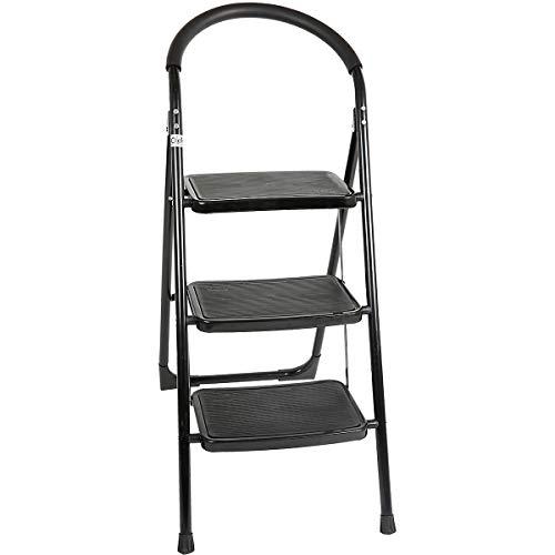 newpo Trittleiter | 3 Stufen | 150 kg Traglast | Schwarz | Stehleiter Haushaltsleiter Klappleiter Klappstufen Klapptritt