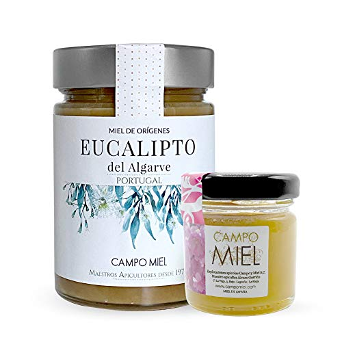 Miel de abeja pura cruda de Eucalipto | Miel de Algarve Portugal Natural, Organica, Fresca y Cruda 390 Gr / Miel cruda 100{54efbb31d266fe623084f02253d3bbd8ca01c26a2b9af9ccd88fdc3ceec4b40a} natural sin azucares añadidos. Extracción en frio