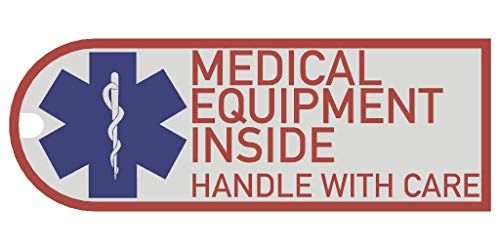 Starkidtags'Medical Equipment Inside' 100mm x 35mm White, Red & Blue Tag with Fixing Loop