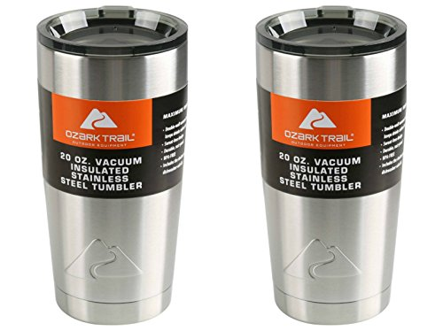 Set of 2 Ozark Trail 20-Ounce Double-Wall Vacuum-Sealed Tumblers With Tinted Lids