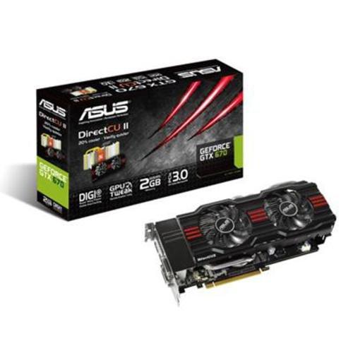 Asus GeForce GTX 670 Grafikkarte (PCI-e 3.0, 2GB DDR5, DisplayPort, Direct CU II, HDMI, 2X DVI)