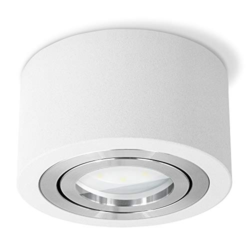 SSC-LUXon LUZA LED Aufbaustrahler flach Bad IP44 tauschbares LED Modul 5W neutralweiß 230 V - weiße Aufbauleuchte rund Ø 90mm