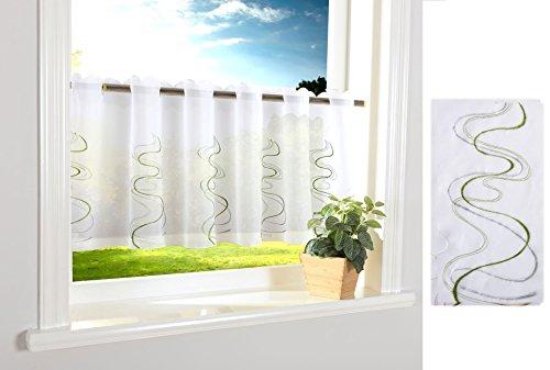 Welle Scheibengardine Durchzuglöcher für Gardinenstangen Scheibe Gardine Küche Grün HxB 40x120 cm, 112241