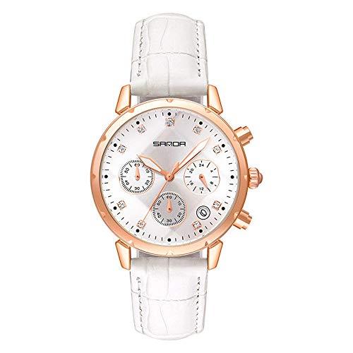 SANDA Reloj Hombre,Tendencia de Moda con Reloj de cinturón de Diamante de la Aguja.-Ricin Blanco