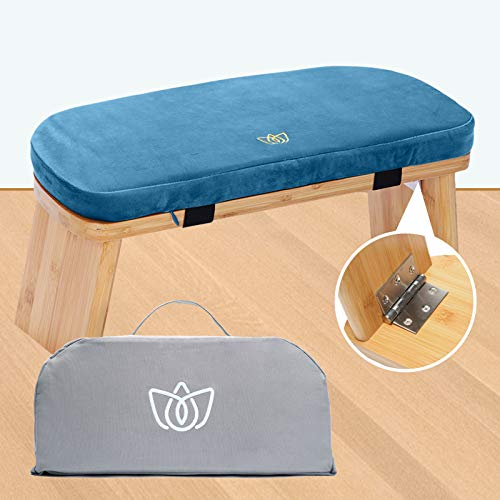 Florensi Meditation Bench (18'x7'x6'), Bamboo, Foldable & Ergonomic Meditation Stool, Sturdy Prayer Bench, Comfortable for Kneeling or Sitting, Perfect for Deeper & Longer Meditation