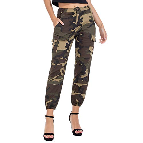 JTANIB Women's Camo Joggers High Waisted Slim Fit Cargo Pants with Pockets,Green S