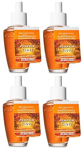 Bath and Body Works 4 Pack Pumpkin Clove Wallflowers Fragrances Refill. 0.8 Oz.