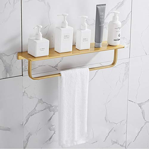 Mdsgfc Juego de accesorios de baño de oro cepillado estante de baño toallero colgador de papel titular de cepillo de inodoro titular de barra de 50 cm