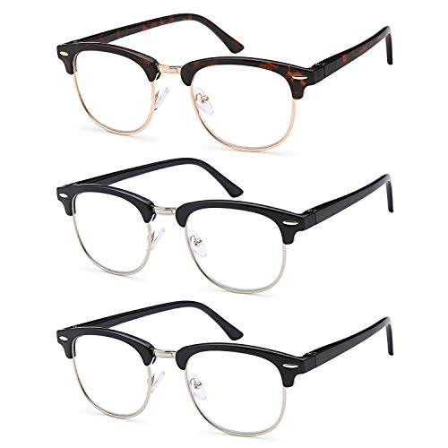Gamma Ray Reading Glasses - 3 Pairs Classic Readers for Men and Women - 1.00