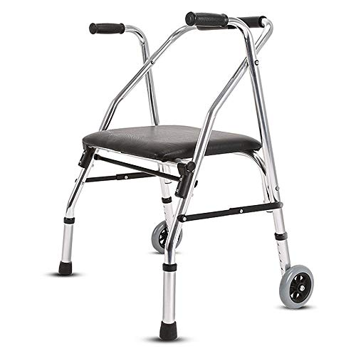 LIU rollator voor oudere mensen met 2 voorwielen, in hoogte verstelbaar 84 – 92 cm, zeer licht en duurzaam, voor gebruik buitenshuis.