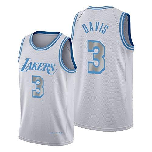 QPY Anhony Davis Basketball Jerseys para Hombres, 2020-21 Los Angeles Lakers Anthony Davis # 3 Swingman City Jersey - Versión Bordada de Plata (S-XXL) S