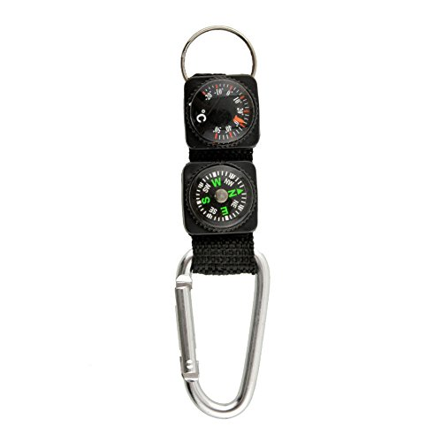 NEW Multifunction Camping w/ Keychain Compass Thermometer Key Ring 3 in 1