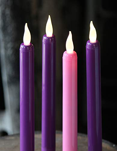 Flameless Advent Candle Set 4-Piece LED Advent Taper Candles Purple and Pink - Soft White Flickering Flame