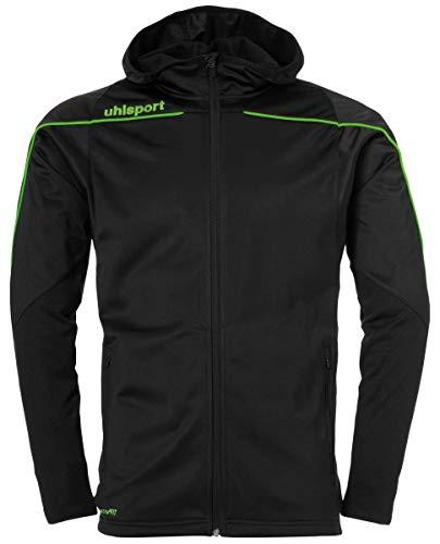 uhlsport Kinder Stream 22 Track Hood Jacket Jacke, Schwarz/Fluo Grün, 164