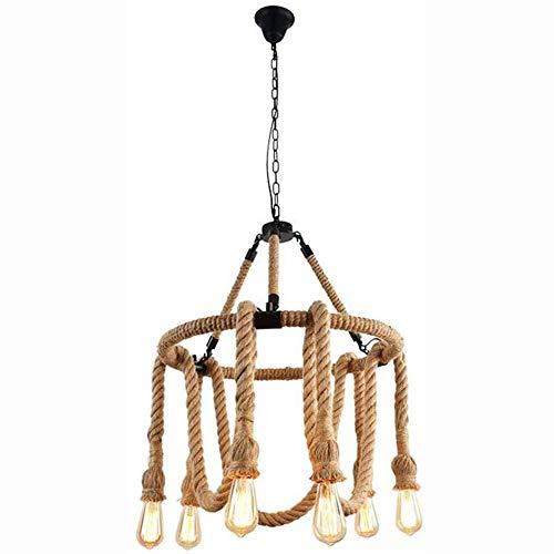 WYBW Candelabro, lámpara colgante de cuerda de cáñamo de mediados de siglo, 6 luces, candelabro creativo vintage, lámpara de techo industrial antigua rural, barra de café ajustable, luz de techo/lá