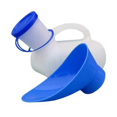 Colinsa 1000 ML Unisex Urinal Toilette für Reisen Camping Tragbare Töpfchen Urinal PE Material, urinieren urinflasche für Alter Mann,Kind,Mann und Frau mit eine Abdeckung und Stecker