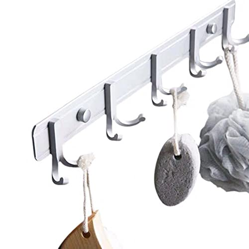 Espacio Aluminio Blanco Blanco Multi-gancho Montado en la pared Easy-To Instale Sala de estar Dormitorio de la sala de estar de la pared y gancho de la fila del sombrero-C8 Gancho para toallas d