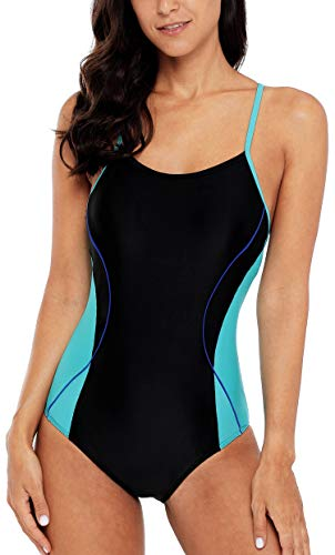 ATTRACO Athletic Training Swimwear Crisscross One Piece Swimsuit Lapping Bathing Suit Black M