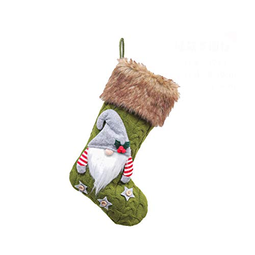 Alipher Christmas Stocking Knitted Gnome Stockings Handmade Hanging Stocking Christmas Tree Pendant Xmas Decoration Gift Bag for Home Décor (Green)