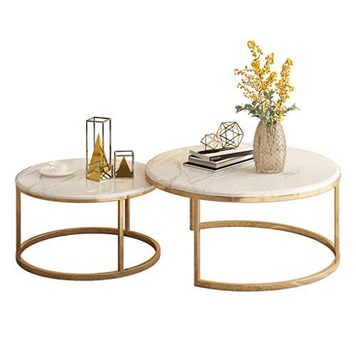 Tavolini sovrapponibili,Tavoli e tavolini, Console e tavoli da divano, Tavoli con piedistallo Tavolino rotondo da scrivania, elegante tavolo da tè in 2 pezzi, tavolino impilabile con piano in marmo,