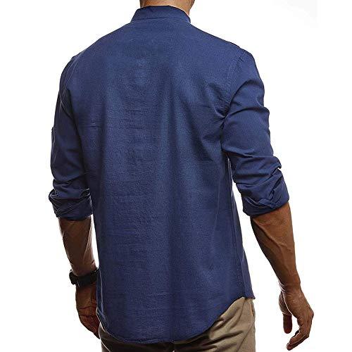 Vanvene - Camisa de lino para hombre (manga larga, cuello en V, tallas S-2XL Rojo rosso S