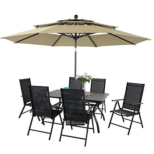 PHI VILLA Patio Dining Set with Umbrella, 7 Pcs Outdoor Table and Chair Set for 6 Person with 10ft Round Patio Umbrella(Beige)
