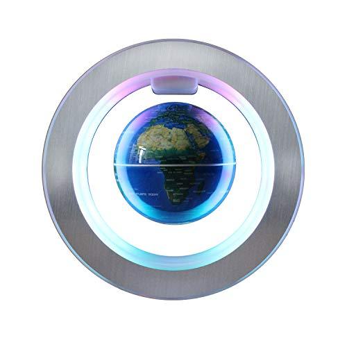 Magnético Levitación Flotante Globo Giratorio con Luces led Mapa del Mundo - Anti Gravedad Globo para Regalo Educativo – Casa Oficina Escritorio de Aula Decoración - 4 Pulgadas