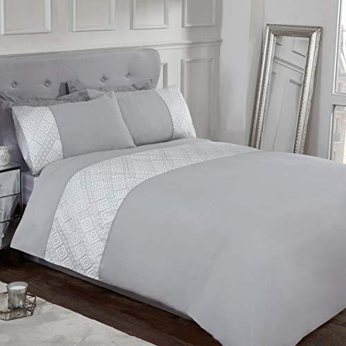 Sleepdown 3D geometrisches Luxus-Bettwäsche-Set aus Lurex-Jacquard-Band, grau, weich, pflegeleicht, Bettbezug mit Kissenbezug, Einzelbett (135 x 200 cm), Polybaumwolle