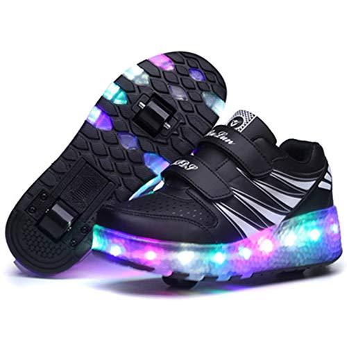 CNNLove Led Luces Zapatos con Ruedas para Pequeños Niño Y Niña Automática Calzado De Skateboarding Deportes De Exterior Patines En Línea Brillante Aire Libre Y Deporte Zapatillas,Negro,43