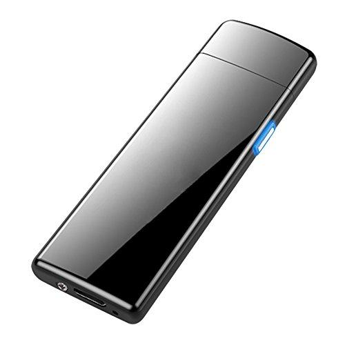 Geolá USB-Elektro Feuerzeug mit Touch-Induktionssensor, schwarz glänzend, elektronisch, dünn, Winddicht, wiederaufladbar, ohne Gas und Benzin, für Küche, Grill, Kerzen, Zigaretten