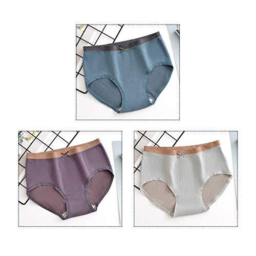 YJMP Damen-Unterhosen, Mid Rise Weiche Modale Hosen Unterwäsche Für Frauen Voller Dehnbarer Briefpaket Von 3,Style6