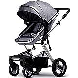 SCDZS En las Cuatro Ruedas Alta Paisaje Cochecito de bebé de Dos vías sentados o echados Plegable Carro de bebé