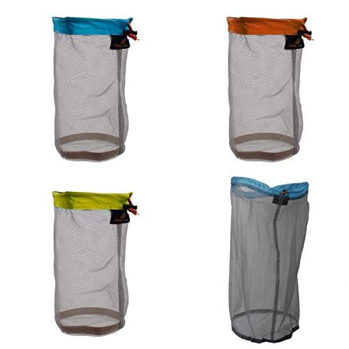Yundxi Ultra Licht Mesh Zeug Sack Aufbewahrungstasche Packsack Stausack Set für Reise Camping Wassersport (Set of 4pcs)