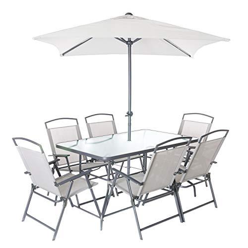 Set tavolo con sedie e ombrellone da esterni, in ferro