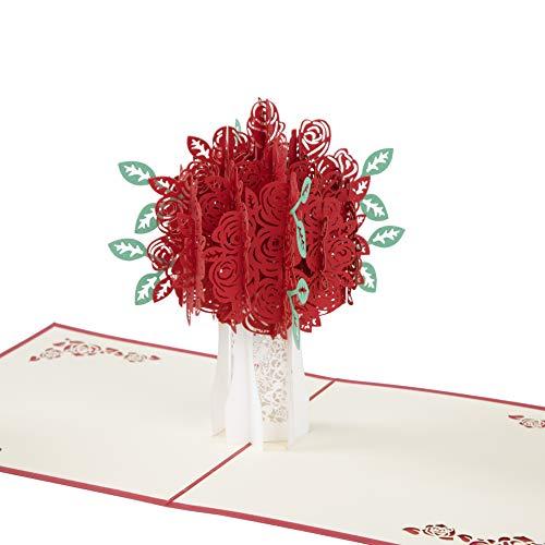 3D Grußkarten Pop Up Karte Rote Rosen Geburtstagskarte Handgemachte Schöne Hochzeitskarte Für Valentinstag Jahrestag Muttertags Danke Abschluss